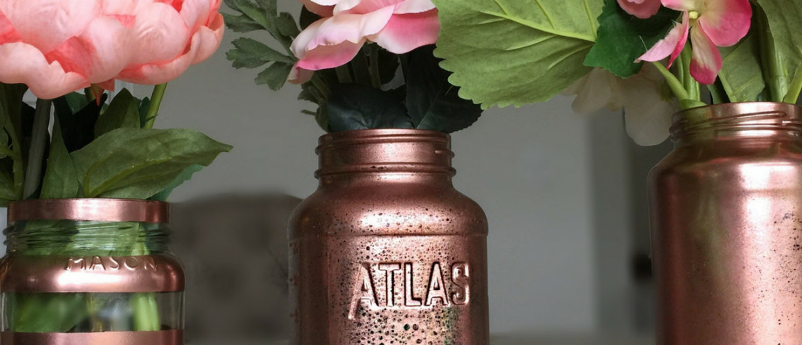 POST Rose Gold mason jar diy party
